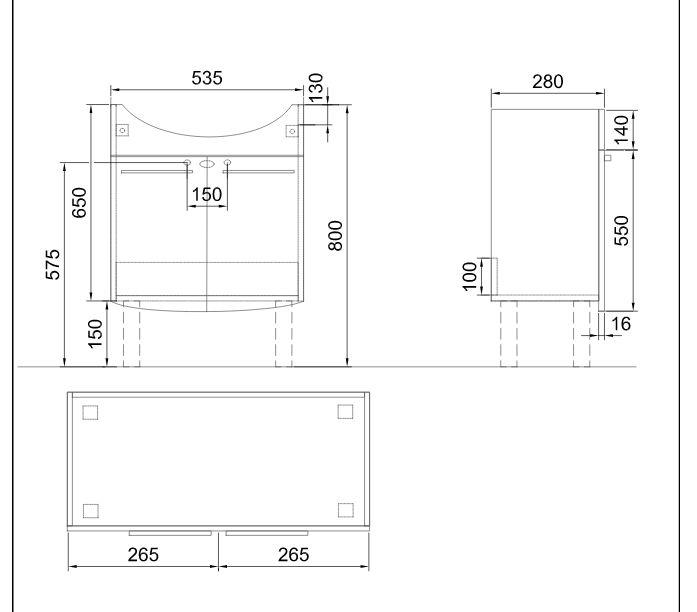 ALFÖLDI SAVAL 2.0 Fehér Mosdószekrény 28 x 53,5 x 69 cm-es A897 E4 R1 + SAVAL 2.0 Mosdó 7017 60 01 / komplett szett mosdóval, EasyPlus bevonattal