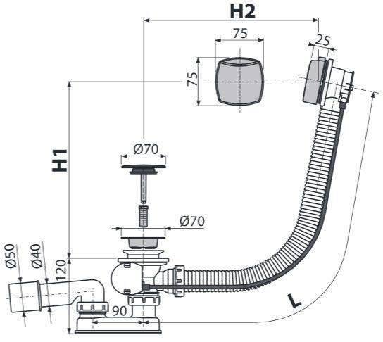 AlcaPLAST A51CRM Automata kádszifon készlet króm, kádlefolyó és túlfolyó készlet, bowdenes / bovdenes működtetés / 570 mm