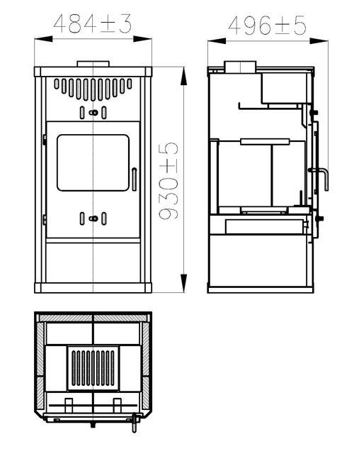 Radeco / Skladova Technika ELEGANT acéllemez vízteres kályha / kandalló központi fűtésre / nyitott rendszerre /  ST EL B