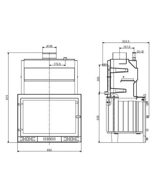 Radeco / Skladova Tehnika BORDEAUX B központi fűtéses vízteres kandalló / kályha / kandallóbetét / V B BORD B