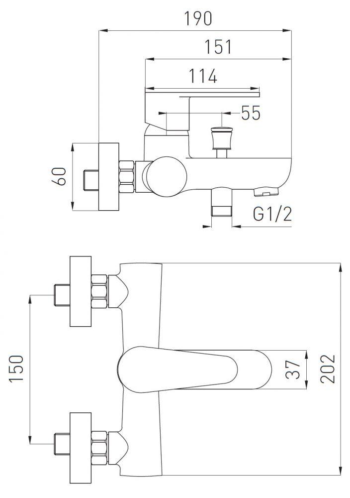 FERRO Algeo egykaros króm kerámiabetétes fali kádtöltő csaptelep zuhanyszett nélkül / BAG1