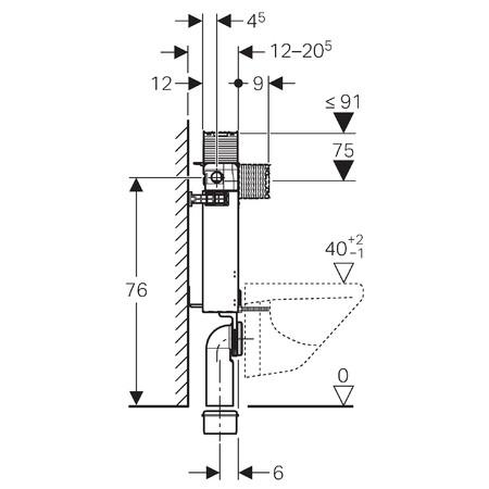 Geberit Kombifix WC szerelőelem/ beépíthető wc tartály fali WC részére 82 cm, fentről / elölről működtethető, Omega öblítőtartállyal, 110.000.00.1 / 110000001