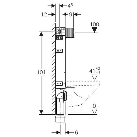 Geberit Kombifix WC szerelőelem fali WC részére 112 cm, elölről működtethető, Omega öblítőtartállyal / 110.020.00.1 / 110020001