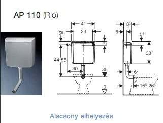 Geberit AP110 Rio falon kívüli öblítőtartály / wc tartály 136.610.11.1 / 136610111