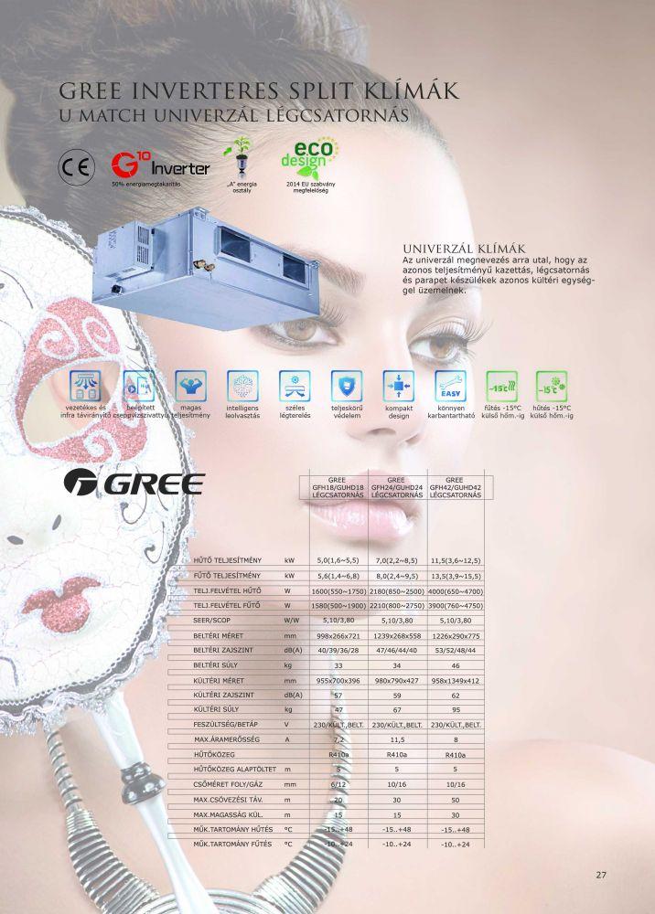 GREE LÉGCSATORNÁS INVERTER ÁLMENNYEZETI 12.0 KW KLÍMA SZETT, CIKKSZÁM: GFH42K3FI / GFH42/GUHD42