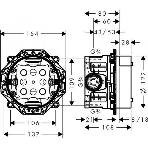 HansGrohe iBox universal alaptest elzárószeleppel DN15/DN20 / 01850180 / 01850 180