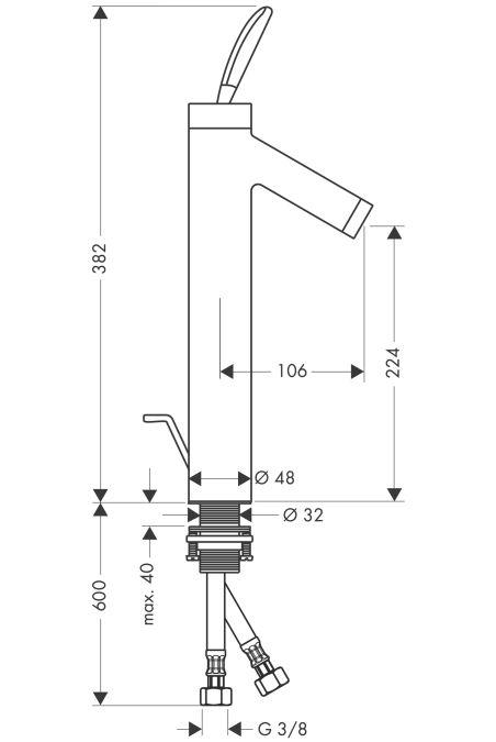 HansGrohe AXOR  Starck Classic Egykaros, magasított mosdócsaptelep DN15 / pulton álló mosdótálakhoz, króm / 10020000 / 10020 000