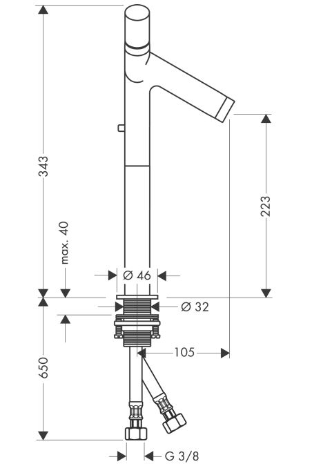 HansGrohe AXOR  Starck Kétkaros, magasított mosdócsaptelep DN15 pulton álló mosdótálhoz / króm / automata lefolyó-garnitúrával / 10050000 / 10050 000