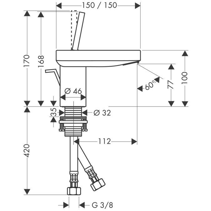 HansGrohe AXOR  Starck X Egykaros mosdócsaptelep 100 mm DN15 / króm / automata lefolyó-garnitúrával / 10070000 / 10070 000
