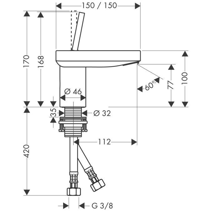 HansGrohe AXOR  Starck X Egykaros mosdócsaptelep 100 mm DN15 / króm /  lefolyó-garnitúra nélkül / 10077000 / 10077 000