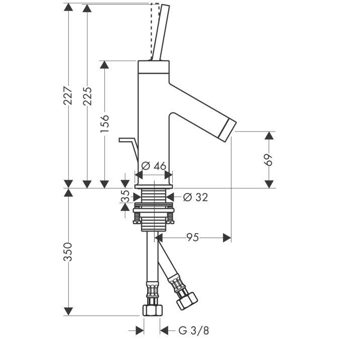 HansGrohe AXOR  Starck Egykaros mosdócsaptelep kézmosóhoz DN15 / króm / automata lefolyó-garnitúrával / 10116000 / 10116 000