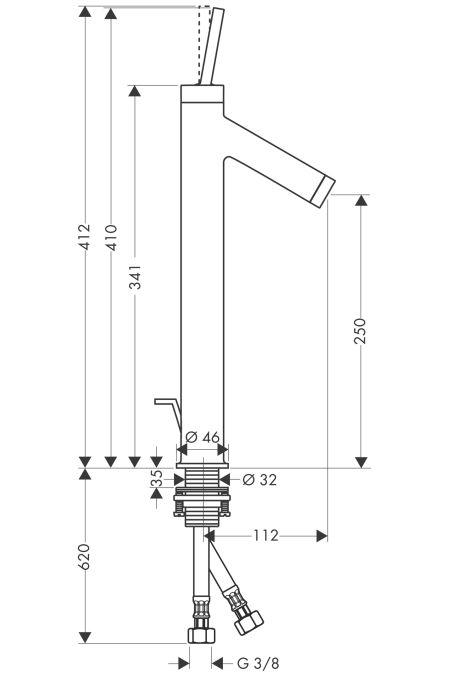 HansGrohe AXOR  Starck Egykaros, magasított mosdócsaptelep DN15 pulton álló mosdótálakhoz / króm / automata lefolyó-garnitúrával / 10120000 / 10120 000
