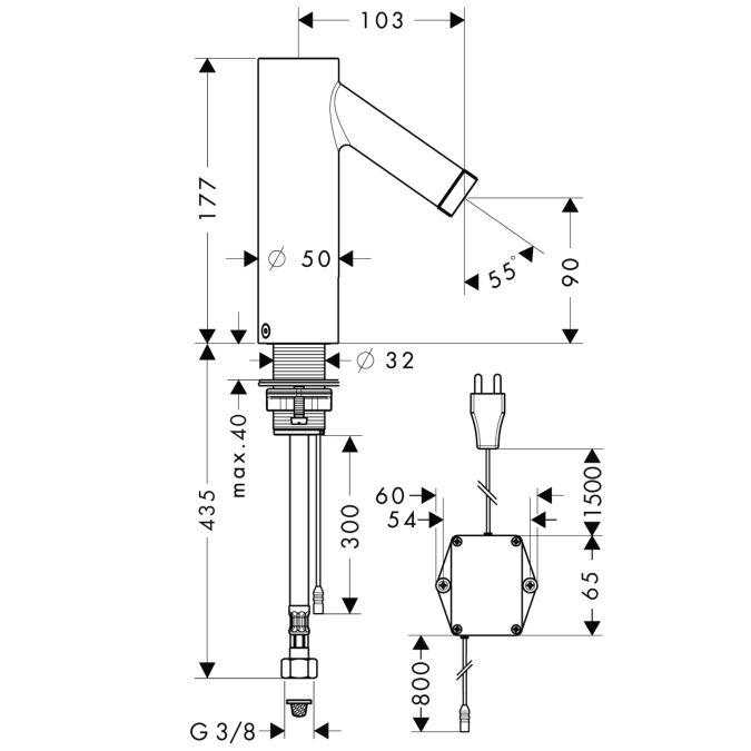 HansGrohe AXOR  Starck Elektromos mosdócsaptelep hőfokszabályzóval DN15 / 230 V-os csatlakozással / króm / 10140000 / 10140 000