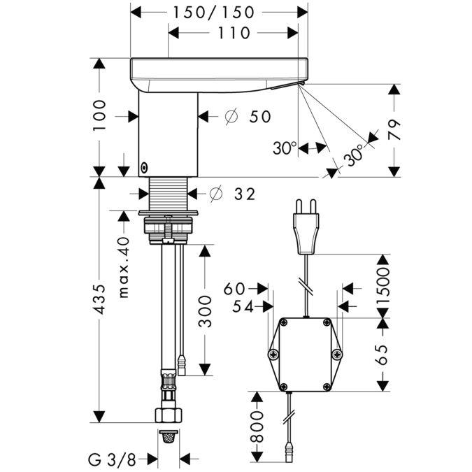 HansGrohe AXOR  Starck X Elektromos mosdócsaptelep DN15 / hőfokszabályzóval / 230 V csatlakozással / króm / 10180000 / 10180 000