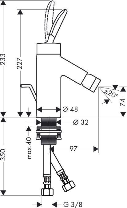 HansGrohe AXOR  Starck Classic Egykaros bidécsaptelep DN15 / króm / automata lefolyó-garnitúrával / 10200000 / 10200 000