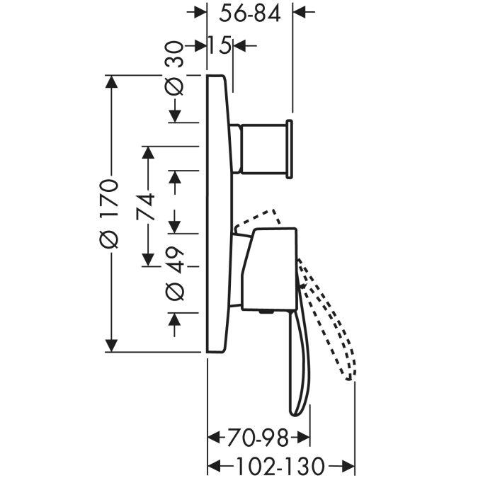 HansGrohe AXOR  Starck Classic Egykaros, falsík alatti kádcsaptelep / beépített biztonsági kombinációval / króm / 10417000 / 10417 000