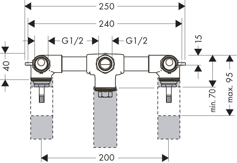 HansGrohe AXOR  Alaptest 2 karos kádcsaptelephez / falsík alatti szereléshez / fali szereléshez / DN15 / 10422180 / 10422 180