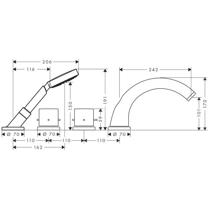 HansGrohe AXOR  Starck 4-lyukú épített peremre szerelhető termosztátos kádcsaptelep színkészlet DN15 / króm / 10466000 / 10466 000