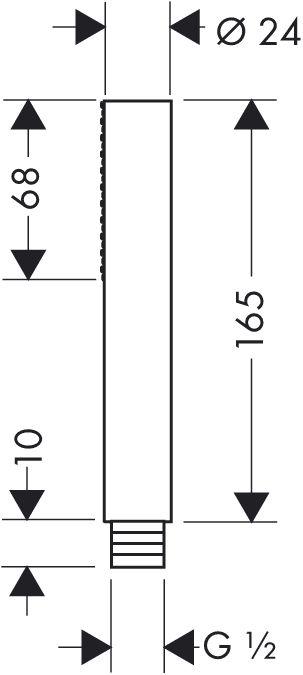 HansGrohe AXOR  Starck 1jet hengeres kézizuhany / hosszúkás / króm / 10531000 / 10531 000