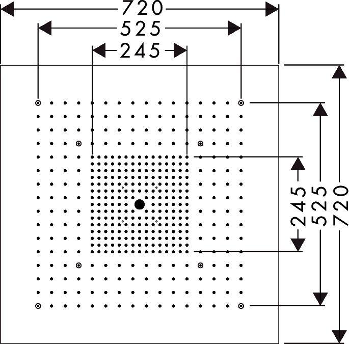 HansGrohe AXOR  Starck ShowerHeaven 720x720 mm DN20 / világítás nélkül / rozsdamentes acél / 10625800 / 10625 800
