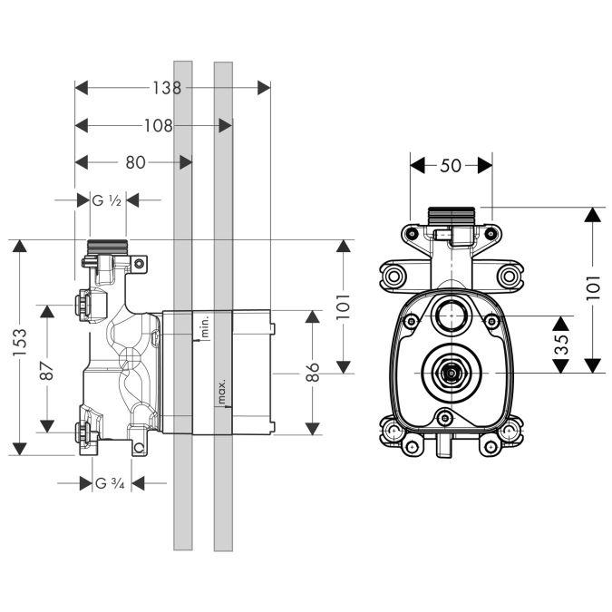 HansGrohe AXOR  Starck ShowerCollection Kézizuhany modul alaptest DN15 / 10650180 / 10650 180
