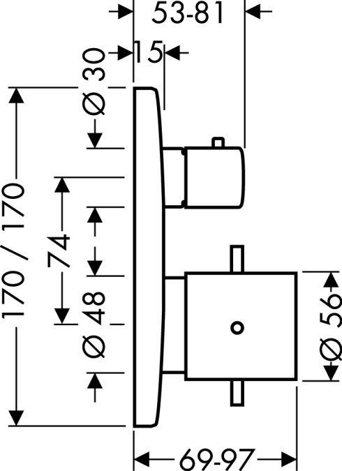 HansGrohe AXOR  Starck X Termosztátos csaptelep falsík alatti szereléshez / elzáró- és váltószeleppel / króm / 10726000 / 10726 000