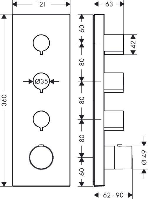 HansGrohe AXOR  Starck ShowerCollection Termosztát modul színkészlet DN20 / 36 x 12 / króm / 10751000 / 10751 000