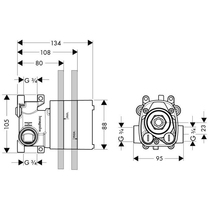 HansGrohe AXOR  Starck ShowerCollection Alaptest falsík alatti termosztát DN20 / 12 x 12 / 10754180 / 10754 180