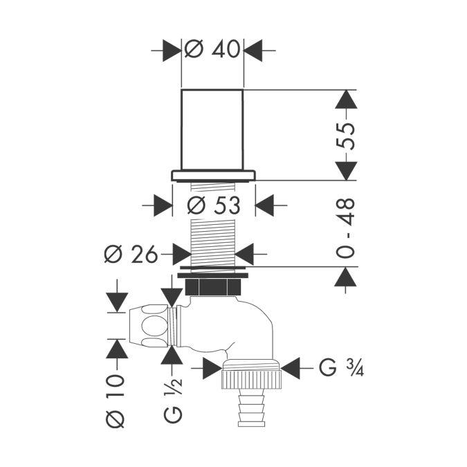 HansGrohe AXOR  Konyhai elzárószelep DN15 / rozsdamentes acél hatású / 10823800 / 10823 800