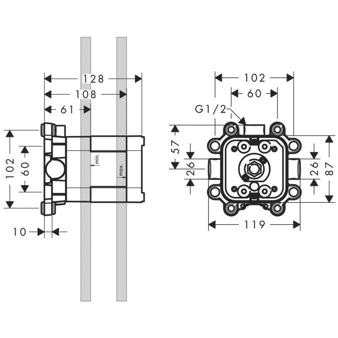 HansGrohe AXOR  Starck ShowerCollection Alaptest 24x24 cm-es fejzuhanyhoz / DN20 / 10921180 / 10921 180
