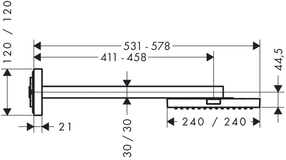 HansGrohe AXOR  Starck ShowerCollection Fejzuhany 24 x 24 cm DN15 / zuhanykarral / króm / 10925000 / 10925 000