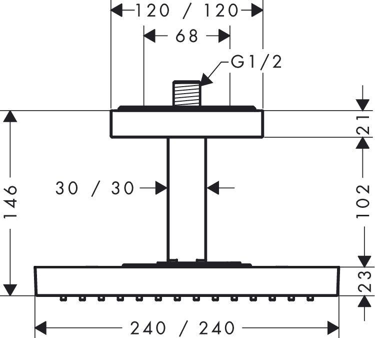HansGrohe AXOR  Starck ShowerCollection Fejzuhany 24 x 24 cm DN15 / mennyezeti csatlakozóval / króm / 10929000 / 10929 000
