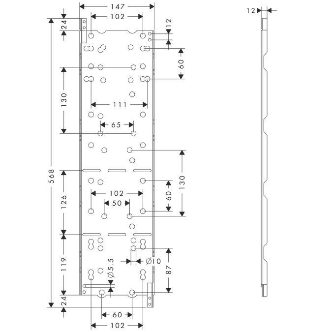 HansGrohe AXOR  Starck ShowerCollection Szerelési sablonlemez / 10973180 / 10973 180