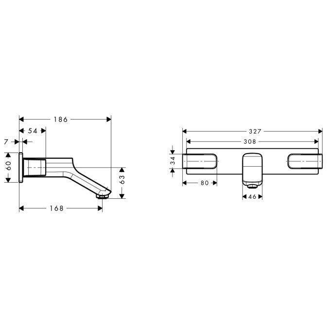 HansGrohe AXOR  Urquiola 3-lyukú mosdócsaptelep DN15 falsík alatti szereléshez / rövid kifolyóval / króm / 11042000 / 11042 000