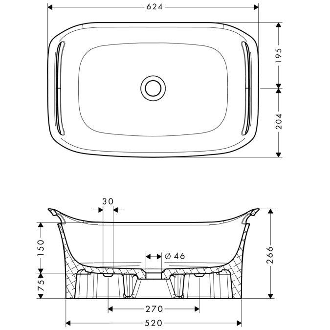 HansGrohe AXOR  Urquiola Mosdótál 625 mm / falra szerelhető / fehér / 11302000 / 11302 000