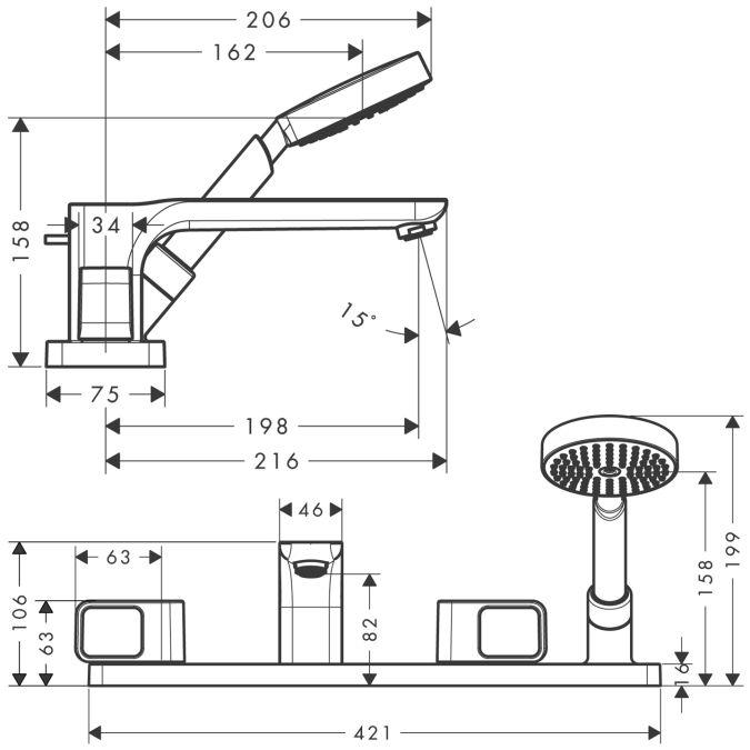HansGrohe AXOR  Urquiola 4-lyukú, épített peremre szerelhető kádcsaptelep DN15 / króm / 11445000 / 11445 000