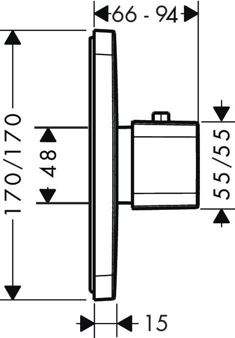 HansGrohe AXOR  Urquiola Falsík alatti termosztát színkészlet / 43 l/perc / króm / 11730000 / 11730 000