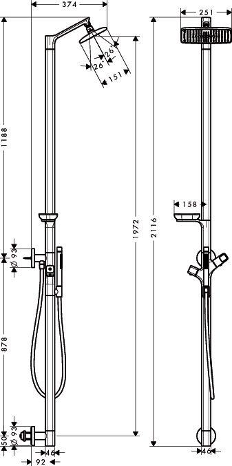 HansGrohe AXOR Urquiola Zuhanyoszlop termosztáttal DN15 / 1jet fejzuhannyal / króm / 11901000 / 11901 000