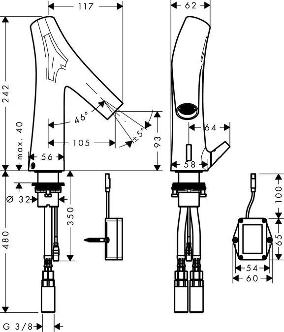 Hansgrohe Elektronikus mosdócsaptelep / előzetes hőfok szabályozóval, 230 V csatlakozással / 12174000 / 12174 000
