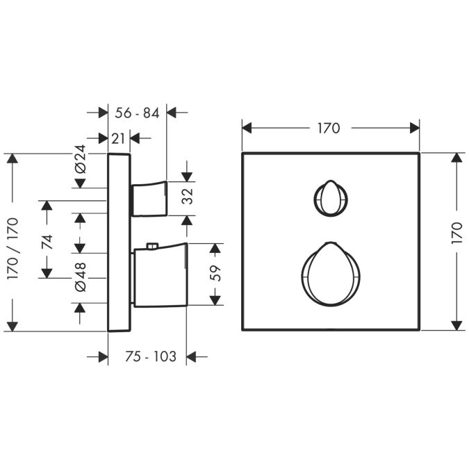 HansGrohe AXOR Starck Organic termosztátos csaptelep színkészlet / falsík alatti szereléshez / elzárószeleppel / króm / DN15 / 12715000 / 12715 000