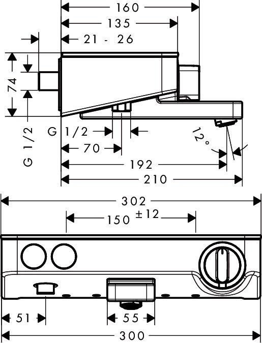HansGrohe ShowerTablet Select 300 termosztátos kádcsaptelep DN15 / króm / 13151000 / 13151 000