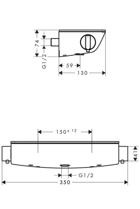 HansGrohe ShowerTablet Select 300 termosztátos zuhanycsaptelep DN15 / fehér / króm / 13161400 / 13161 400