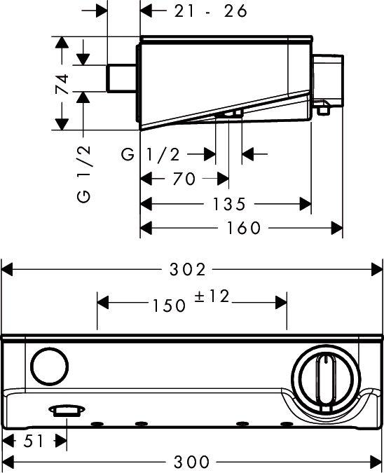 HansGrohe ShowerTablet Select 300 termosztátos zuhanycsaptelep DN15 / króm / 13171000 / 13171 000
