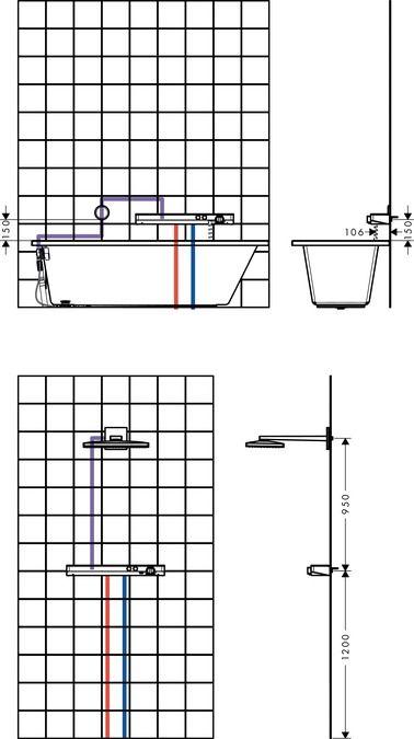 HansGrohe ShowerTablet Select 700 universal 2 fogyasztóhoz / 13184000 / 13184 000