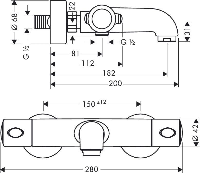 HansGrohe Ecostat 1001 SL termosztátos kádcsaptelep DN15 / falsíkon kívüli szereléshez / króm / 13241000 / 13241 000