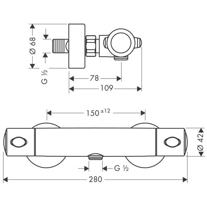 HansGrohe Ecostat 1001 SL termosztátos zuhanycsaptelep DN15 / falsíkon kívüli szereléshez / króm / 13261000 / 13261 000