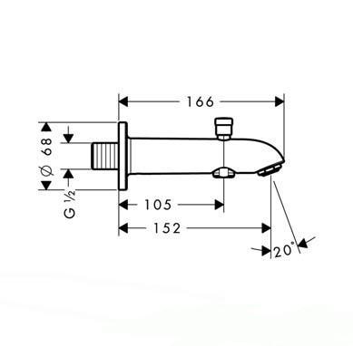 HansGrohe Kádtöltő E/S 152 mm váltószeleppel / króm / 13423000 / 13423 000