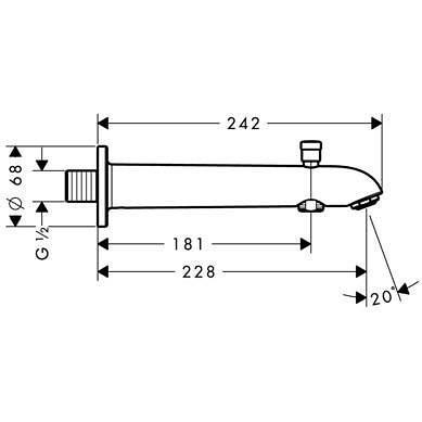 HansGrohe Kádtöltő E/S 228 mm váltószeleppel / króm / 13424000 / 13424 000