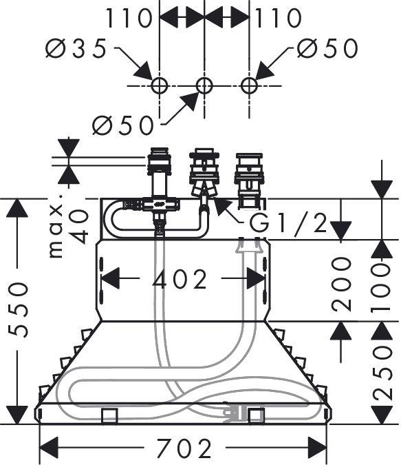 HansGrohe Alaptest 3-lyukú peremre szerelhető kádcsaptelephez DN15 / 13437180 / 13437 180