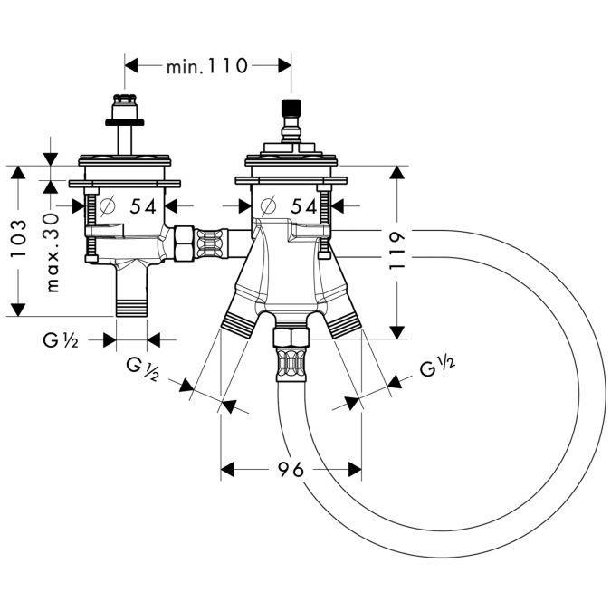 HansGrohe Alaptest 2-lyukú, peremre szerelhető termosztátos kádcsaptelephez DN15 / 13550180 / 13550 180